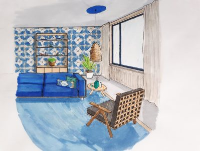 blauw woonkamer