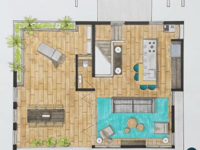 Plattegrond vakantiewoning - Interieurontwerp Designed by Elroy